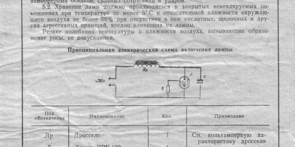 паспорт ЛАМПА ТИПА ДРК-120
