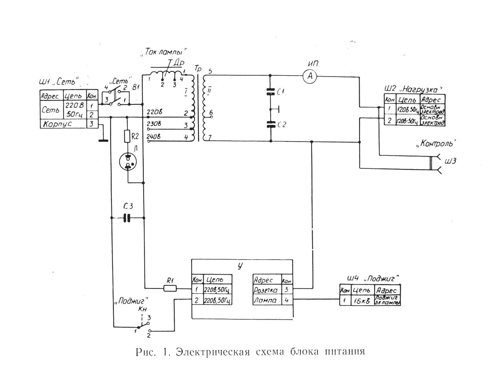 блок питания лампы дрш-250-3 рис. 1