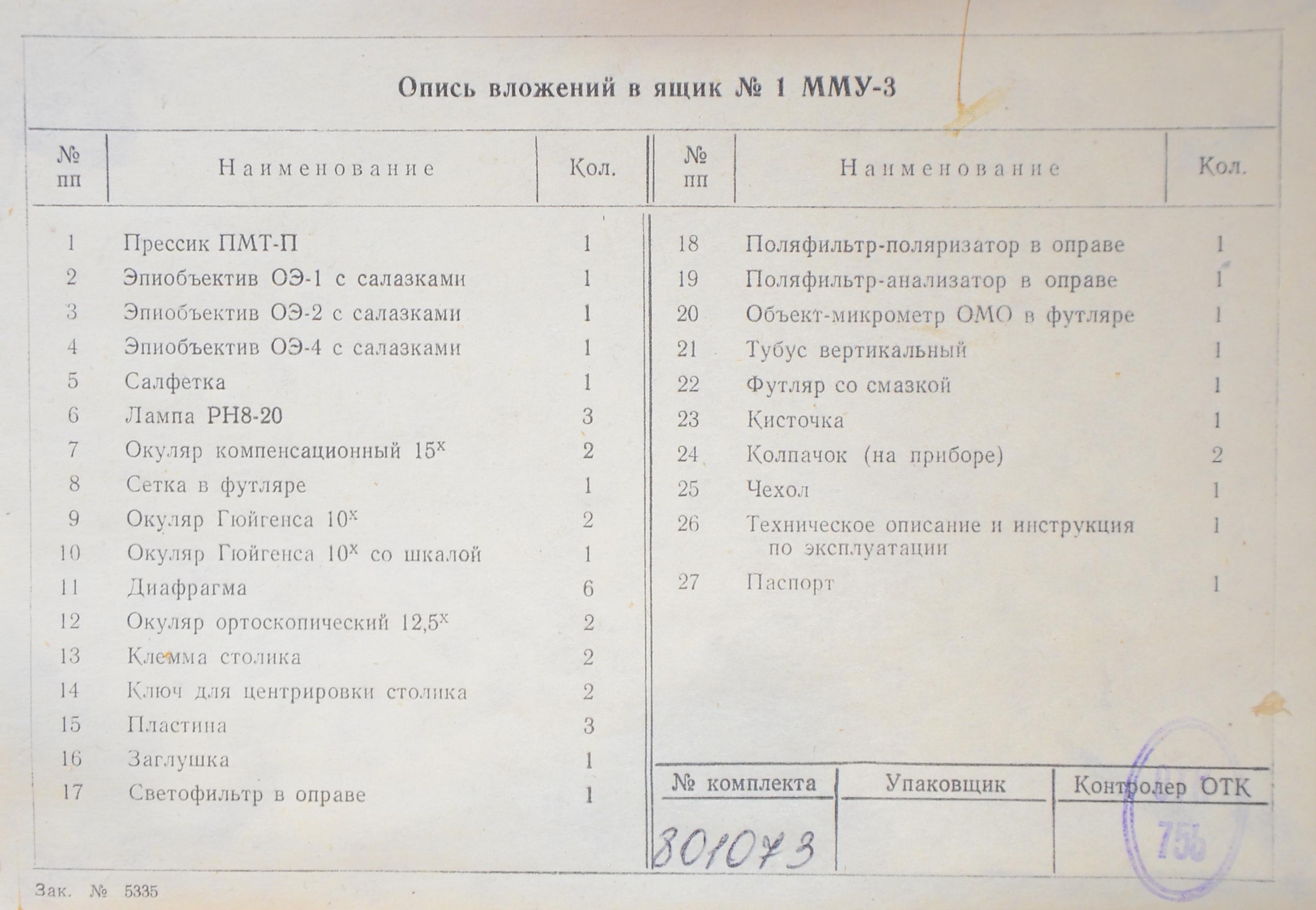 мму-3 опись вложений в ящик ЗИП